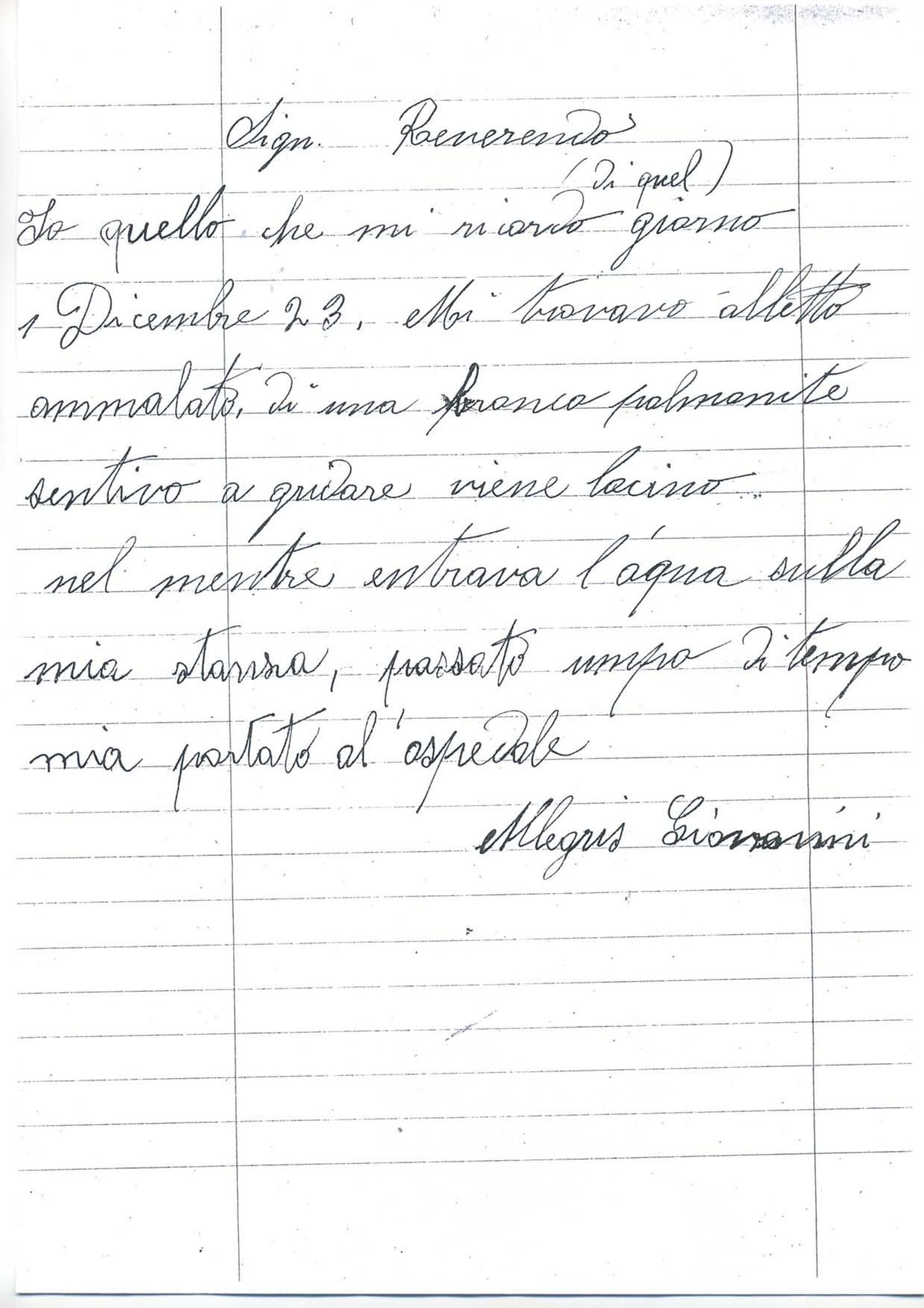 Lettera di Allegris Giovanni