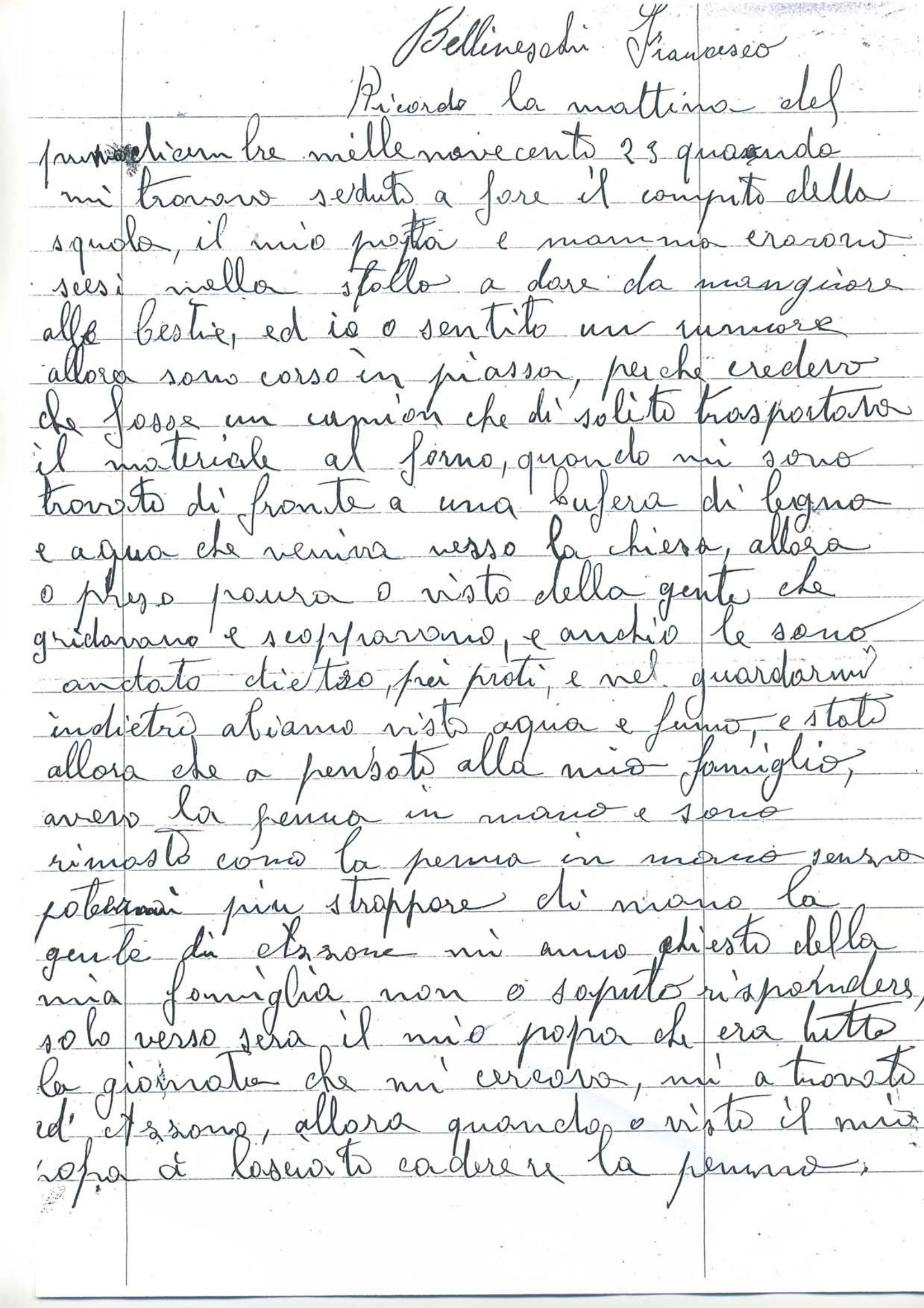 Lettera di Bettineschi Francesco