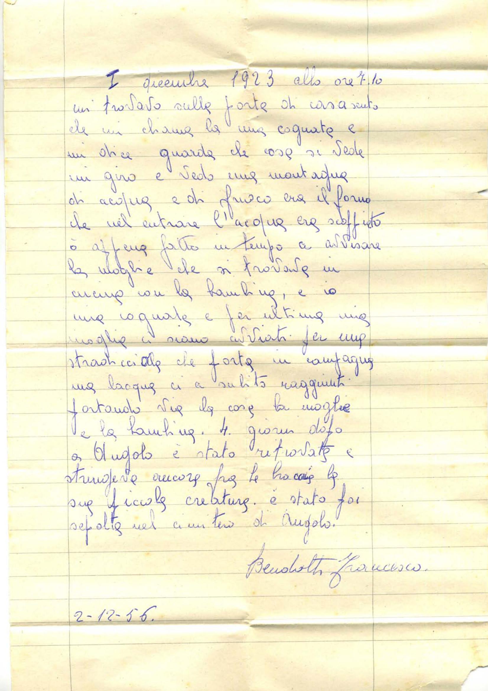 Lettera di Bendotti Francesco